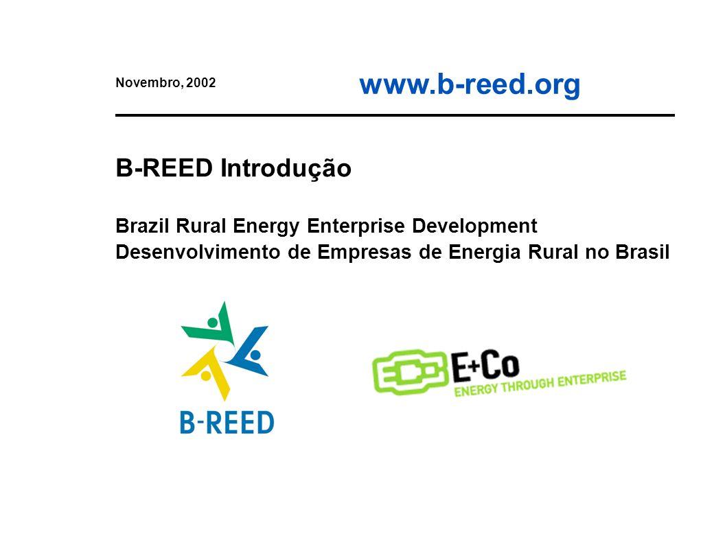 2 O que é o B-REED Parceria do Programa das Nações Unidas para o Meio Ambiente (PNUMA) e a E+Co ($$ da Fund.