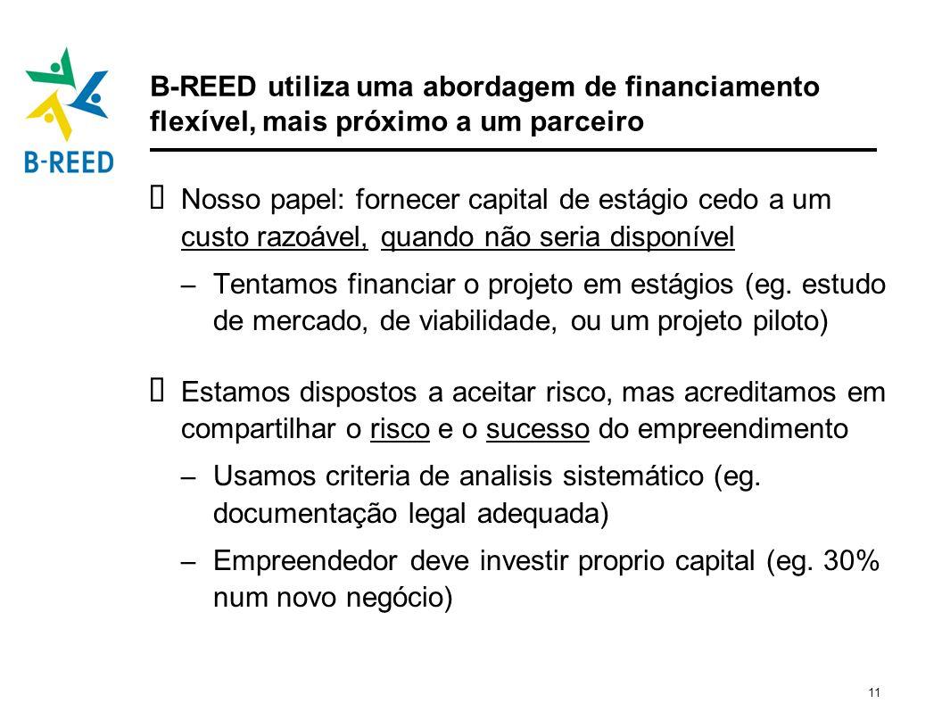 11 B-REED utiliza uma abordagem de financiamento flexível, mais próximo a um parceiro Nosso papel: fornecer capital de estágio cedo a um custo razoáve