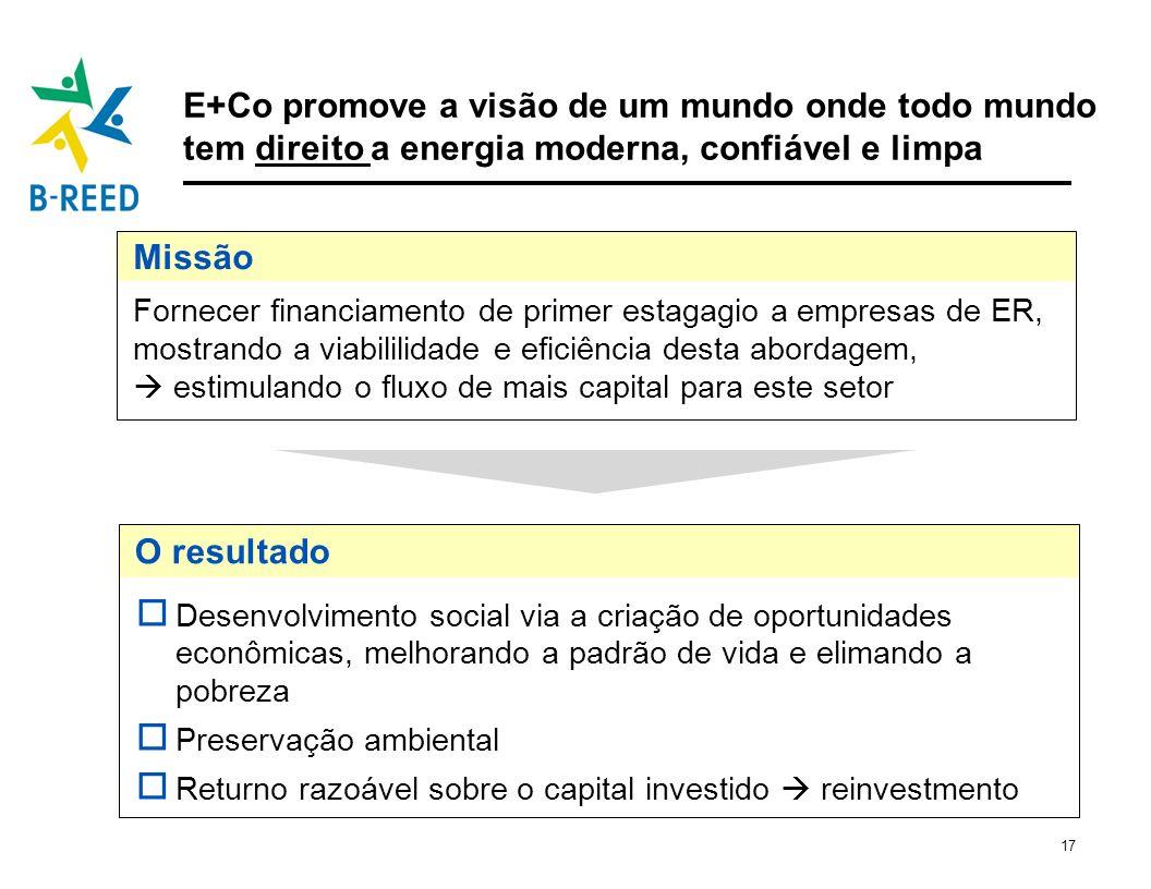 17 Fornecer financiamento de primer estagagio a empresas de ER, mostrando a viabililidade e eficiência desta abordagem, estimulando o fluxo de mais ca