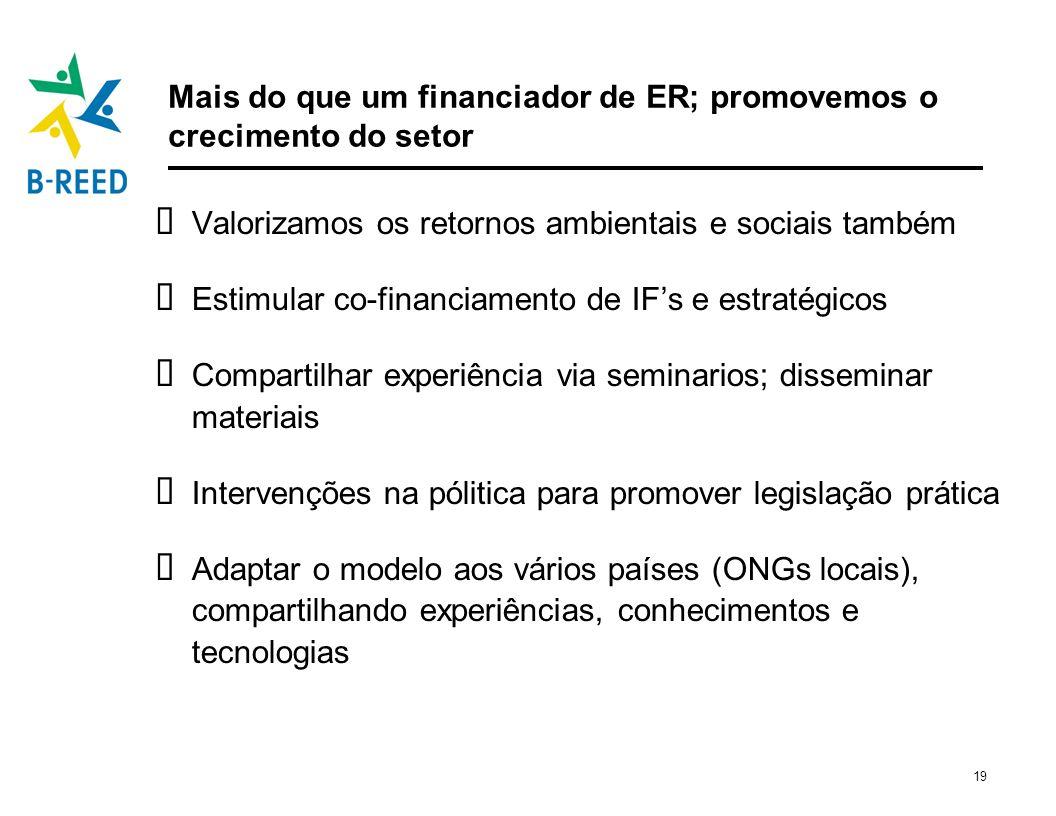 19 Mais do que um financiador de ER; promovemos o crecimento do setor Valorizamos os retornos ambientais e sociais também Estimular co-financiamento d