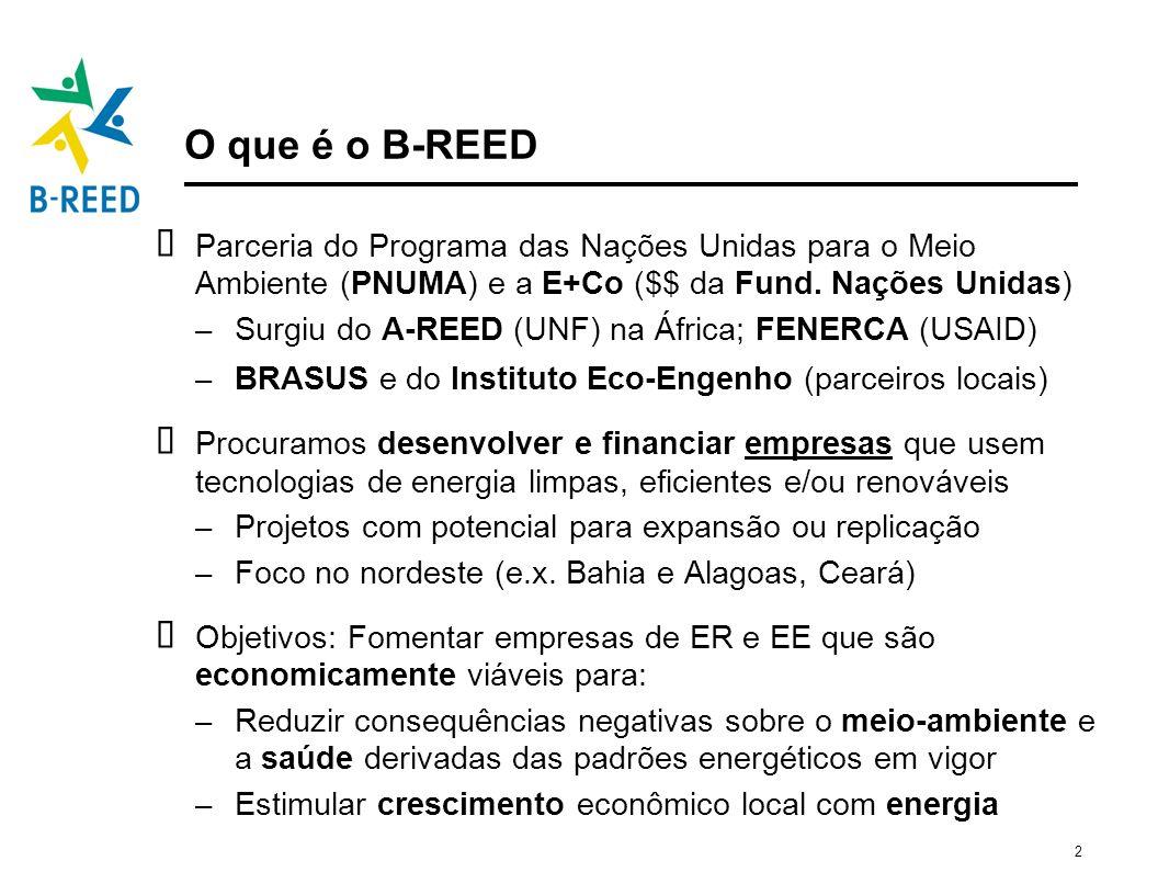 2 O que é o B-REED Parceria do Programa das Nações Unidas para o Meio Ambiente (PNUMA) e a E+Co ($$ da Fund. Nações Unidas) – Surgiu do A-REED (UNF) n