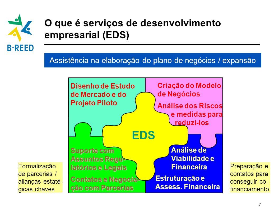 7 O que é serviços de desenvolvimento empresarial (EDS) Disenho de Estudo de Mercado e do Projeto Piloto Criação do Modelo de Negócios Análise dos Ris