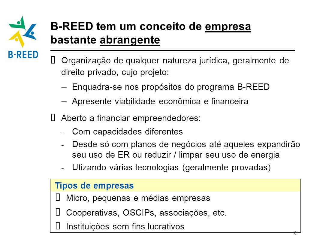 8 B-REED tem um conceito de empresa bastante abrangente Organização de qualquer natureza jurídica, geralmente de direito privado, cujo projeto: Enquad