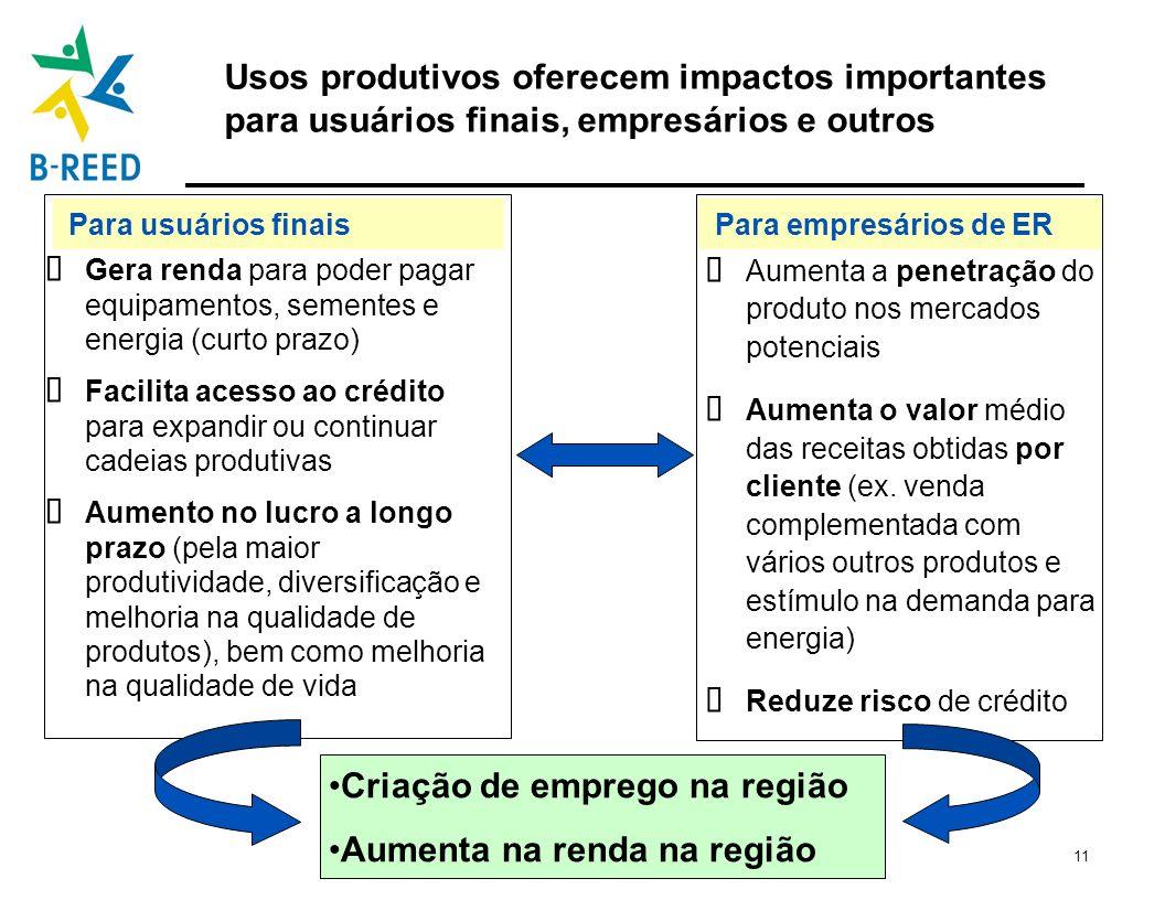 11 Para empresários de ERPara usuários finais Usos produtivos oferecem impactos importantes para usuários finais, empresários e outros Gera renda para