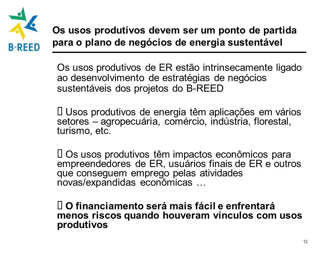12 Os usos produtivos devem ser um ponto de partida para o plano de negócios de energia sustentável Os usos produtivos de ER estão intrinsecamente lig