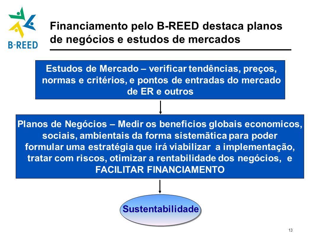 13 Financiamento pelo B-REED destaca planos de negócios e estudos de mercados Sustentabilidade Estudos de Mercado – verificar tendências, preços, norm