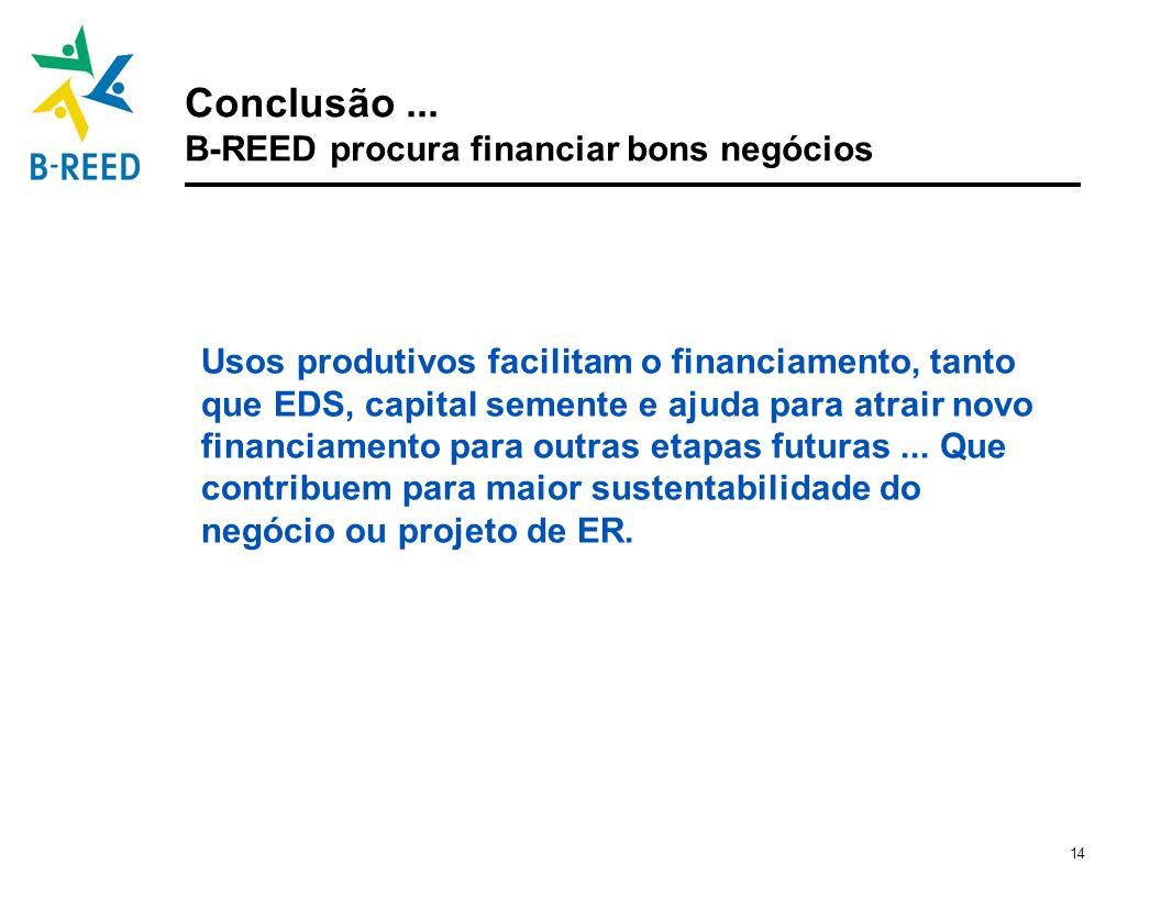 14 Conclusão... B-REED procura financiar bons negócios Usos produtivos facilitam o financiamento, tanto que EDS, capital semente e ajuda para atrair n