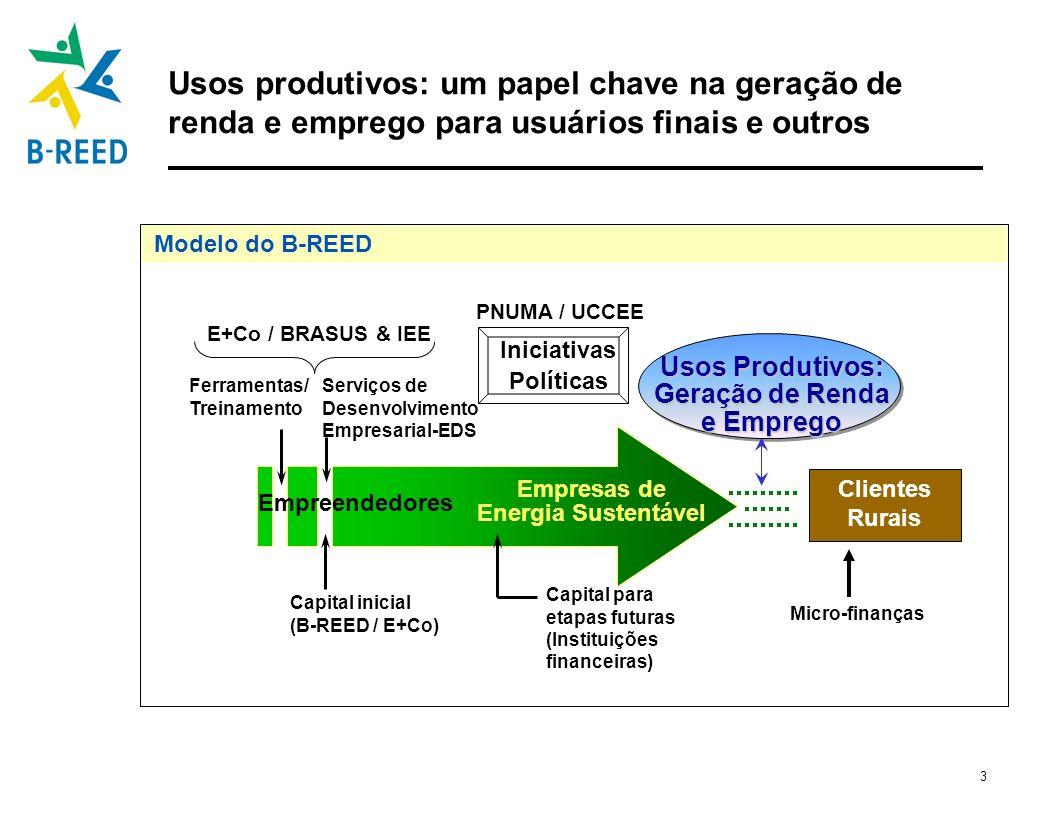 3 Usos produtivos: um papel chave na geração de renda e emprego para usuários finais e outros Modelo do B-REED Empresas de Energia Sustentável Capital