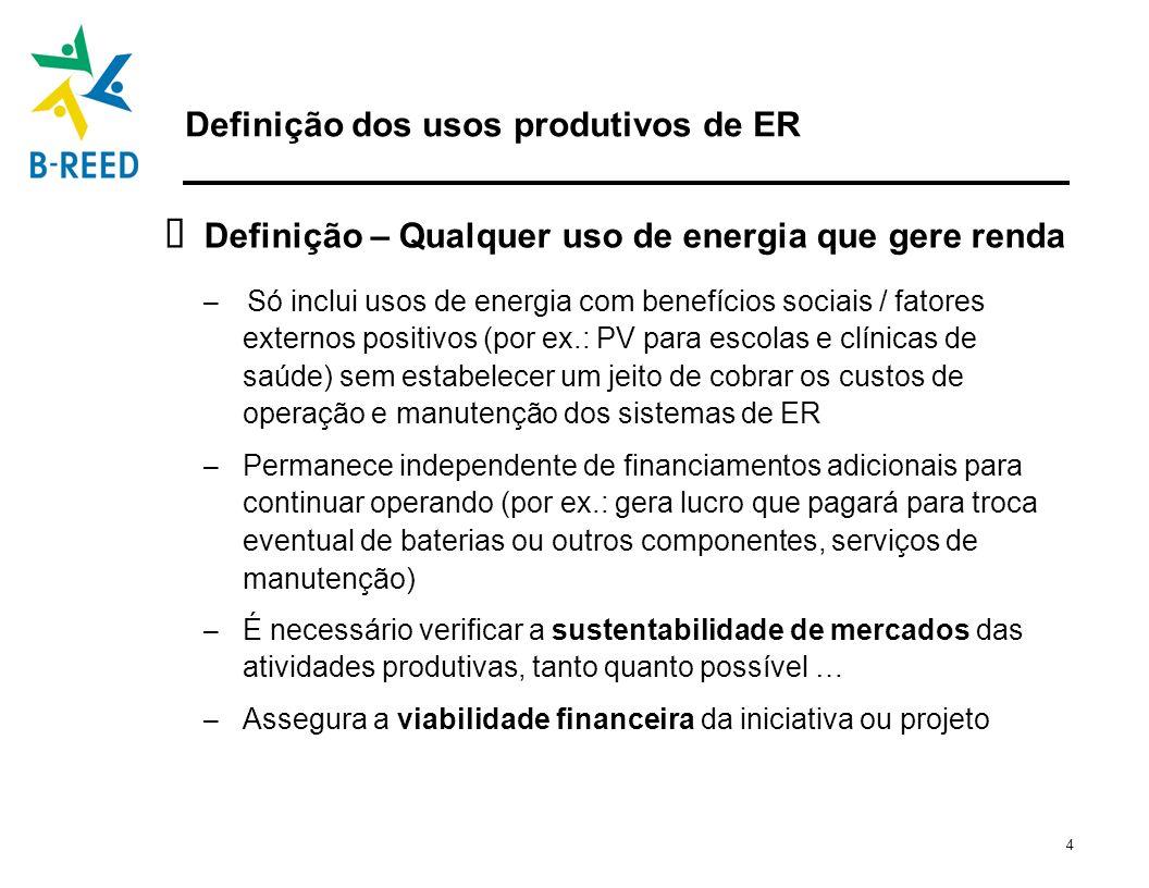 5 Os usos produtivos como um ponto de partida para o plano de negócios de energia sustentável Os usos produtivos de ER estão intrinsecamente ligado ao desenvolvimento de estratégias de negócios sustentáveis dos projetos do B-REED Usos produtivos de ER têm aplicações em vários setores – agropecuária, comércio, indústria, florestal, turismo, etc.