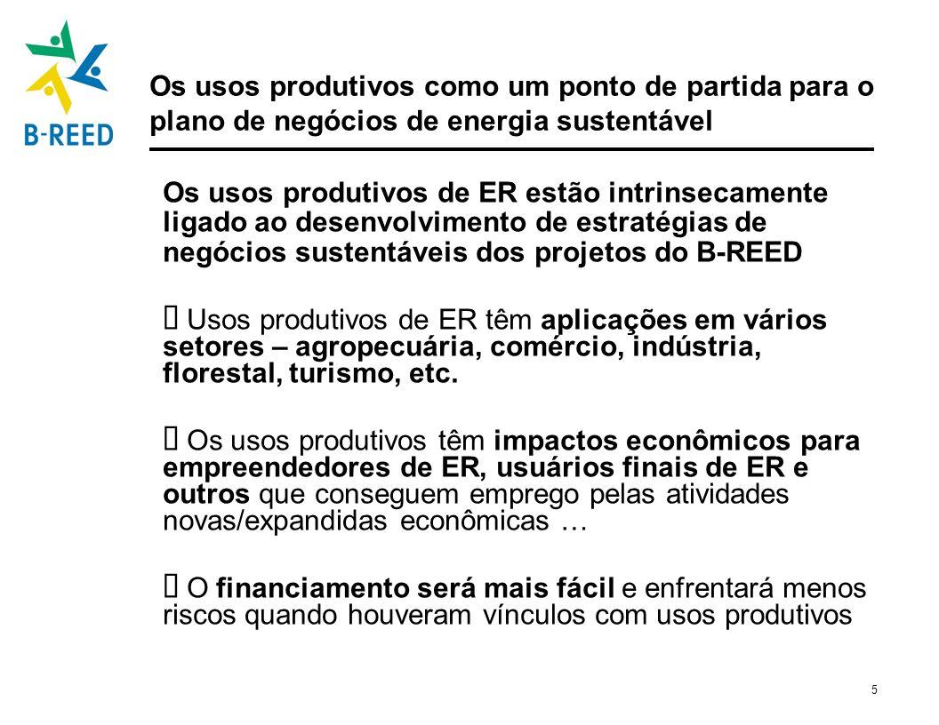 6 Os usos produtivos devem ser um ponto de partida para o plano de negócios de energia sustentável Os usos produtivos de ER estão intrinsecamente ligado ao desenvolvimento de estratégias de negócios sustentáveis dos projetos do B-REED Usos produtivos de energia têm aplicações em vários setores – agropecuária, comércio, indústria, florestal, turismo, etc.