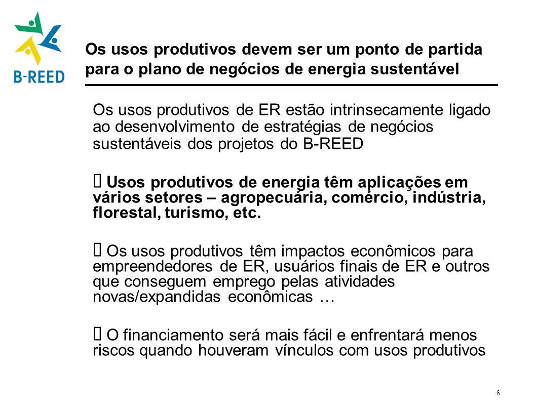 6 Os usos produtivos devem ser um ponto de partida para o plano de negócios de energia sustentável Os usos produtivos de ER estão intrinsecamente liga