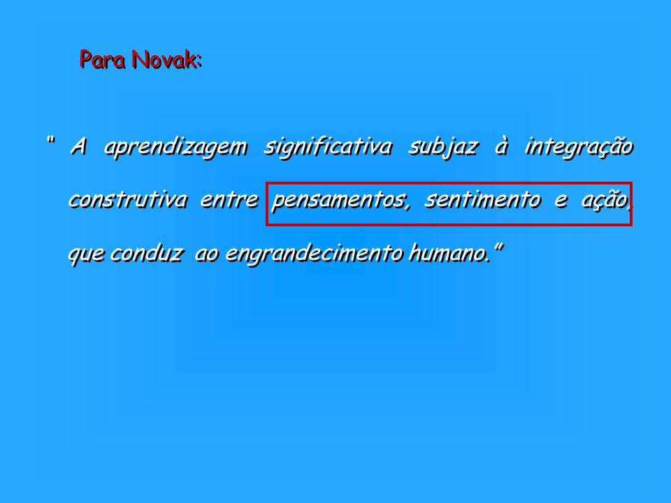 A aprendizagem significativa subjaz à integração construtiva entre pensamentos, sentimento e ação, que conduz ao engrandecimento humano. Para Novak: