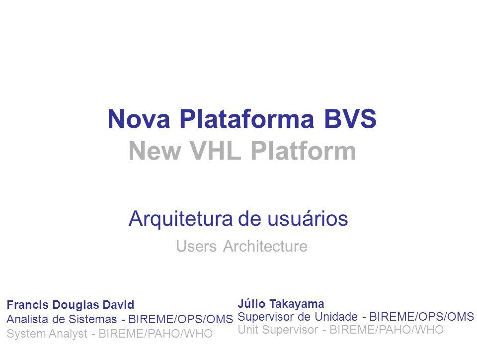 Nova Plataforma BVS New VHL Platform Arquitetura de usuários Users Architecture Francis Douglas David Analista de Sistemas - BIREME/OPS/OMS System Ana