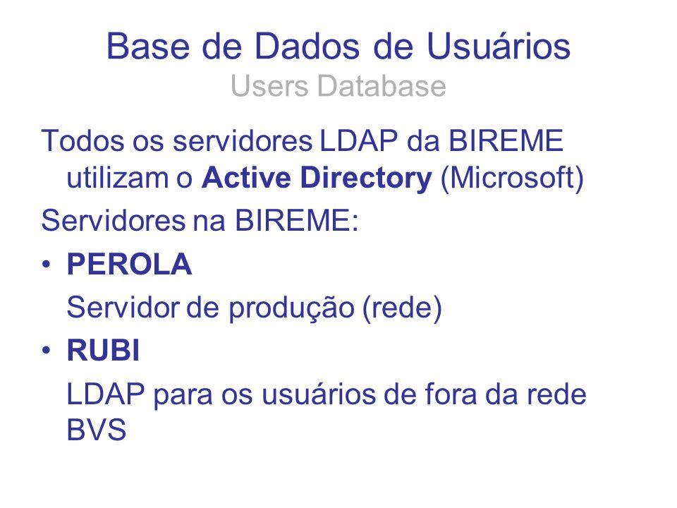 Todos os servidores LDAP da BIREME utilizam o Active Directory (Microsoft) Servidores na BIREME: PEROLA Servidor de produção (rede) RUBI LDAP para os