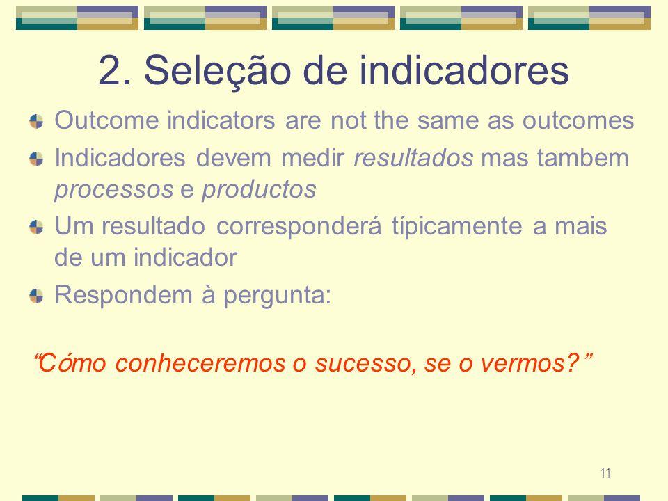 11 2. Sele ç ão de indicadores Outcome indicators are not the same as outcomes Indicadores devem medir resultados mas tambem processos e productos Um