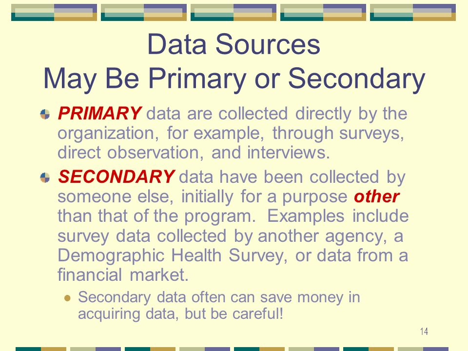 14 Data Sources May Be Primary or Secondary PRIMARY data are collected directly by the organization, for example, through surveys, direct observation,