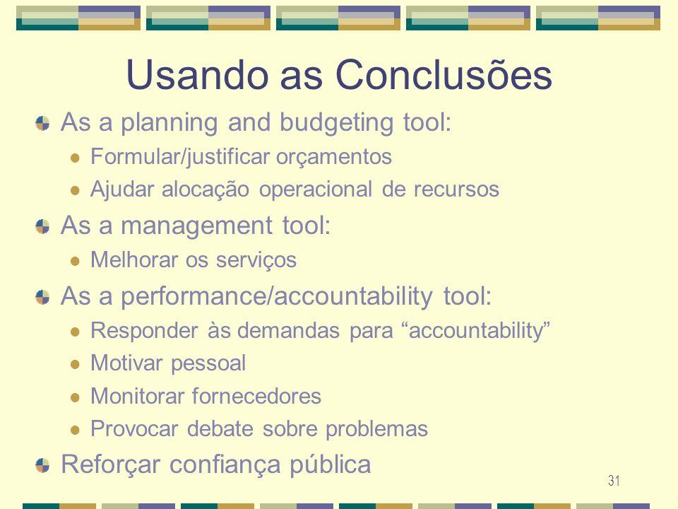 31 Usando as Conclusões As a planning and budgeting tool: Formular/justificar or ç amentos Ajudar aloca ç ão operacional de recursos As a management t