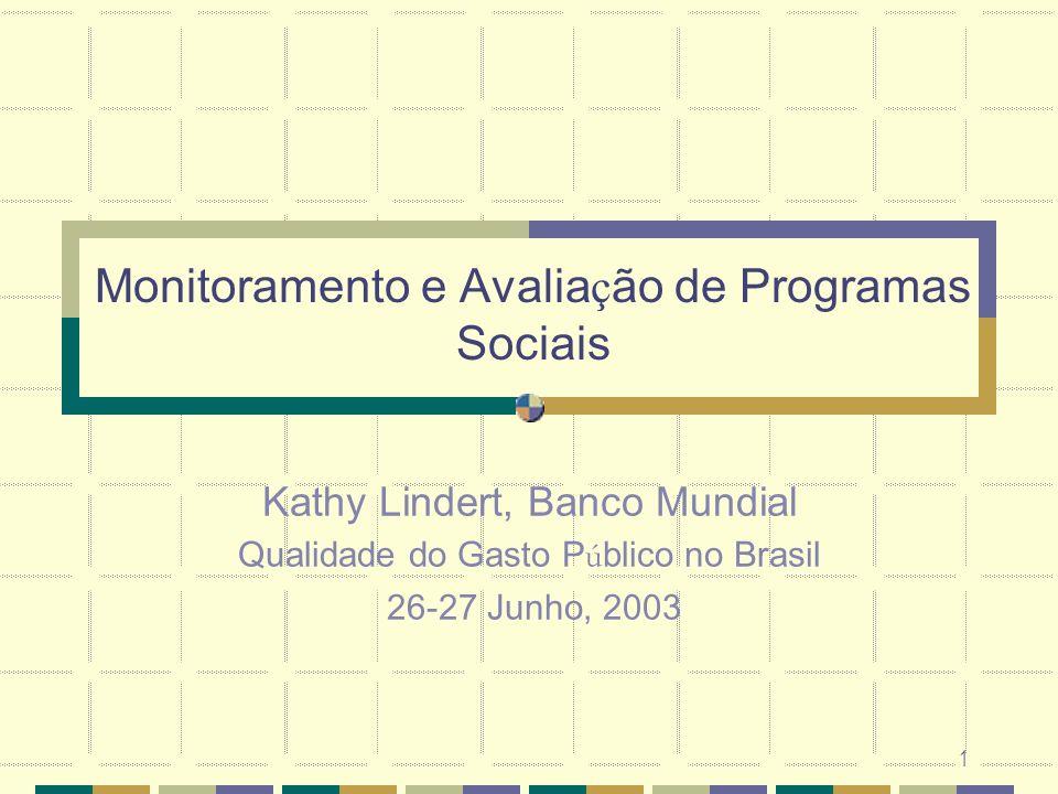 1 Monitoramento e Avalia ç ão de Programas Sociais Kathy Lindert, Banco Mundial Qualidade do Gasto P ú blico no Brasil 26-27 Junho, 2003