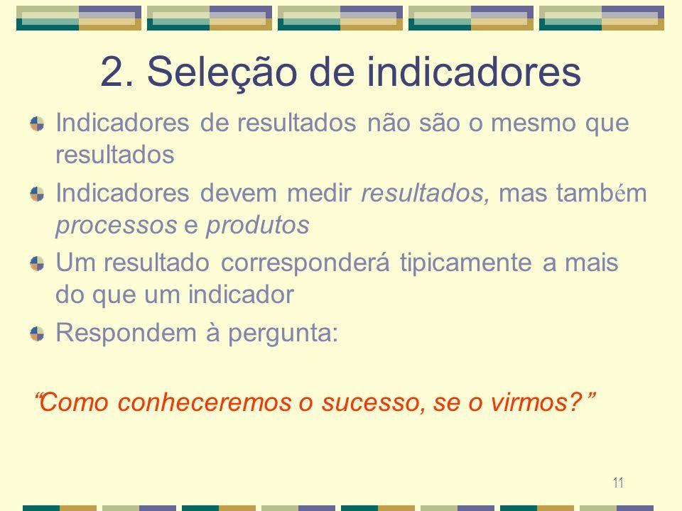 11 2. Sele ç ão de indicadores Indicadores de resultados não são o mesmo que resultados Indicadores devem medir resultados, mas tamb é m processos e p