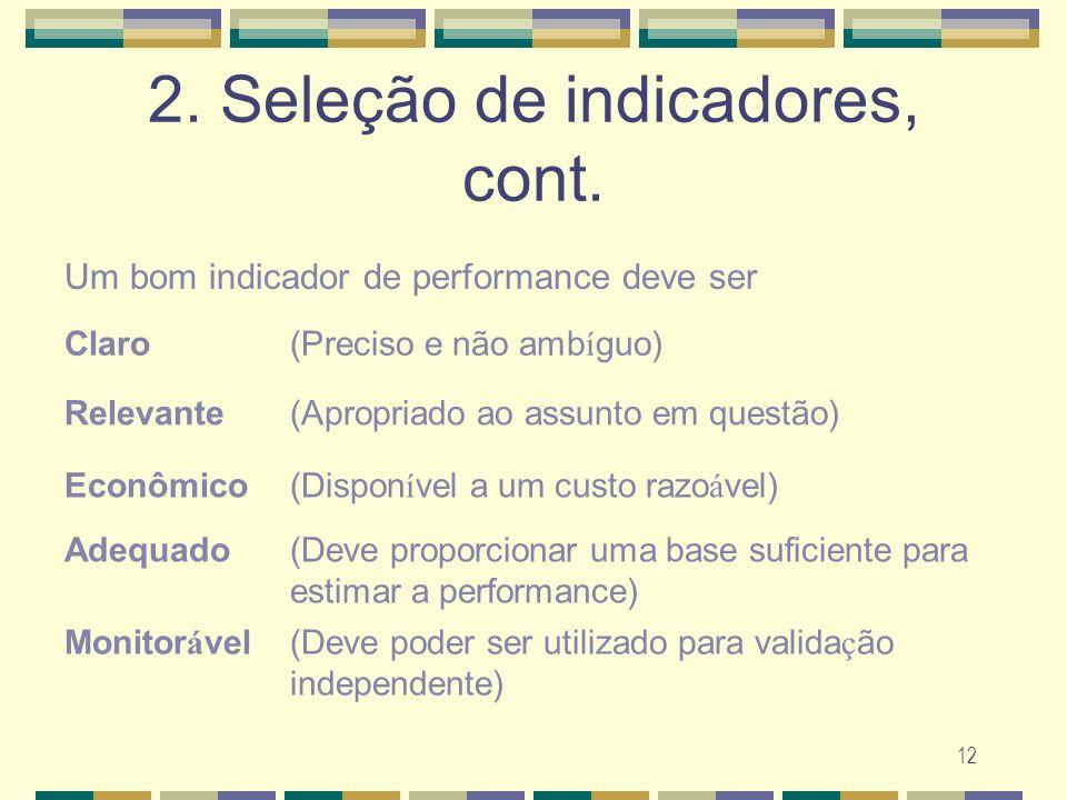 12 2. Sele ç ão de indicadores, cont. Um bom indicador de performance deve ser Claro(Preciso e não amb í guo) Relevante(Apropriado ao assunto em quest