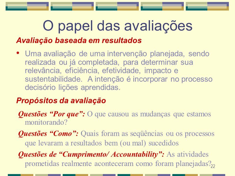 22 O papel das avalia ç ões Avaliação baseada em resultados Uma avaliação de uma intervenção planejada, sendo realizada ou já completada, para determi