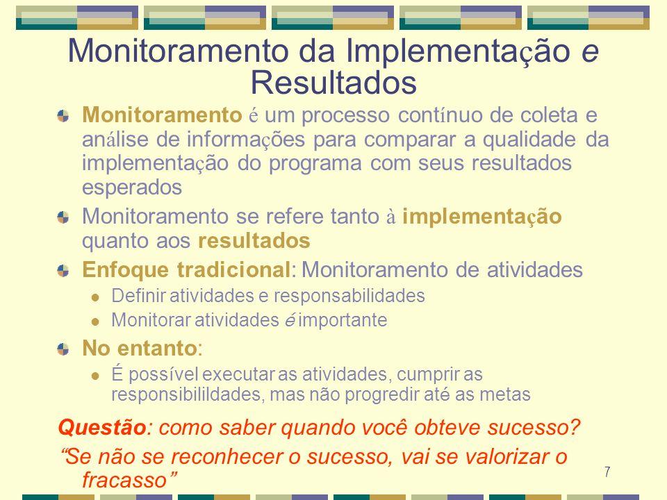 7 Monitoramento da Implementa ç ão e Resultados Monitoramento é um processo cont í nuo de coleta e an á lise de informa ç ões para comparar a qualidad