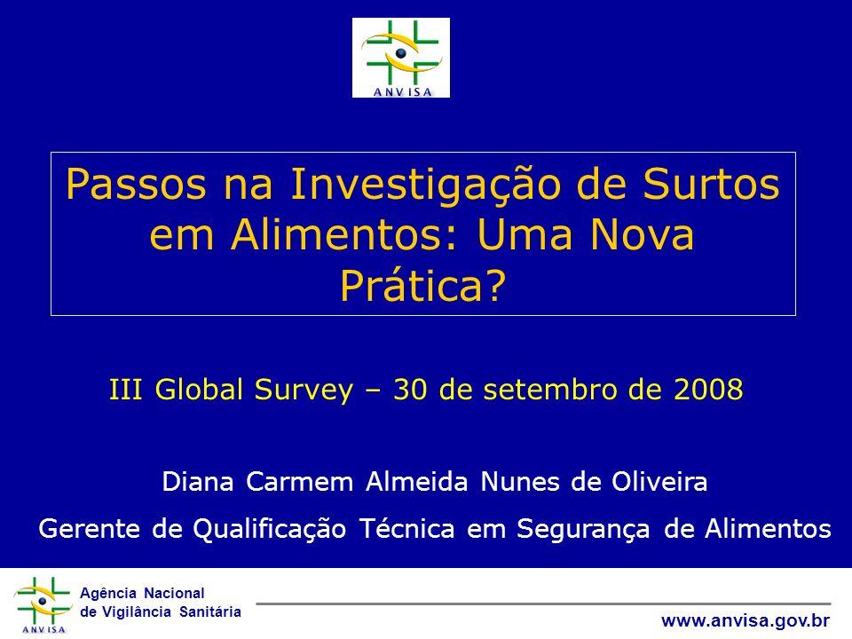 Agência Nacional de Vigilância Sanitária www.anvisa.gov.br III Global Survey – 30 de setembro de 2008 Passos na Investigação de Surtos em Alimentos: U