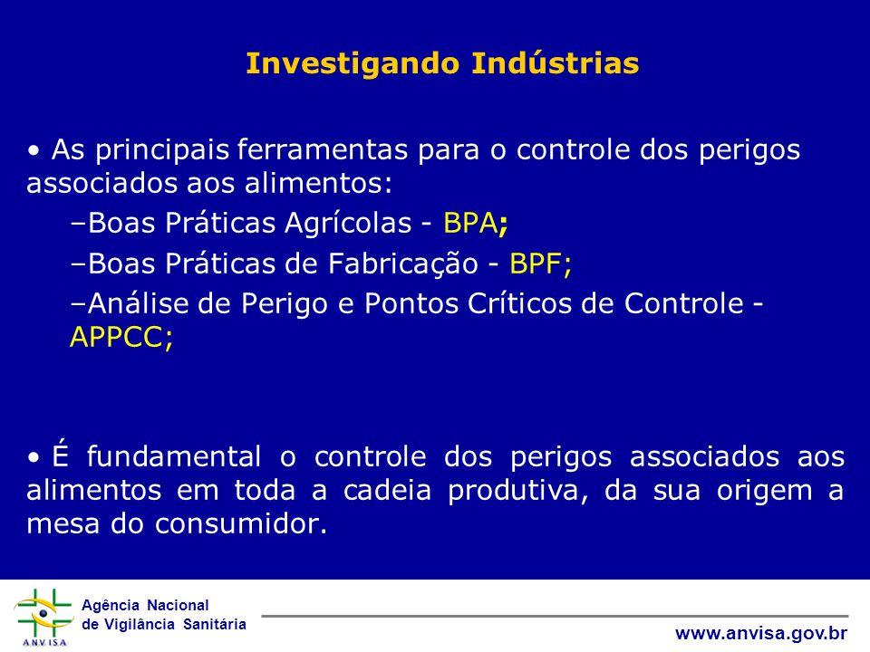 Agência Nacional de Vigilância Sanitária www.anvisa.gov.br Investigando Indústrias As principais ferramentas para o controle dos perigos associados ao