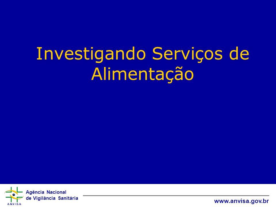 Agência Nacional de Vigilância Sanitária www.anvisa.gov.br Investigando Serviços de Alimentação