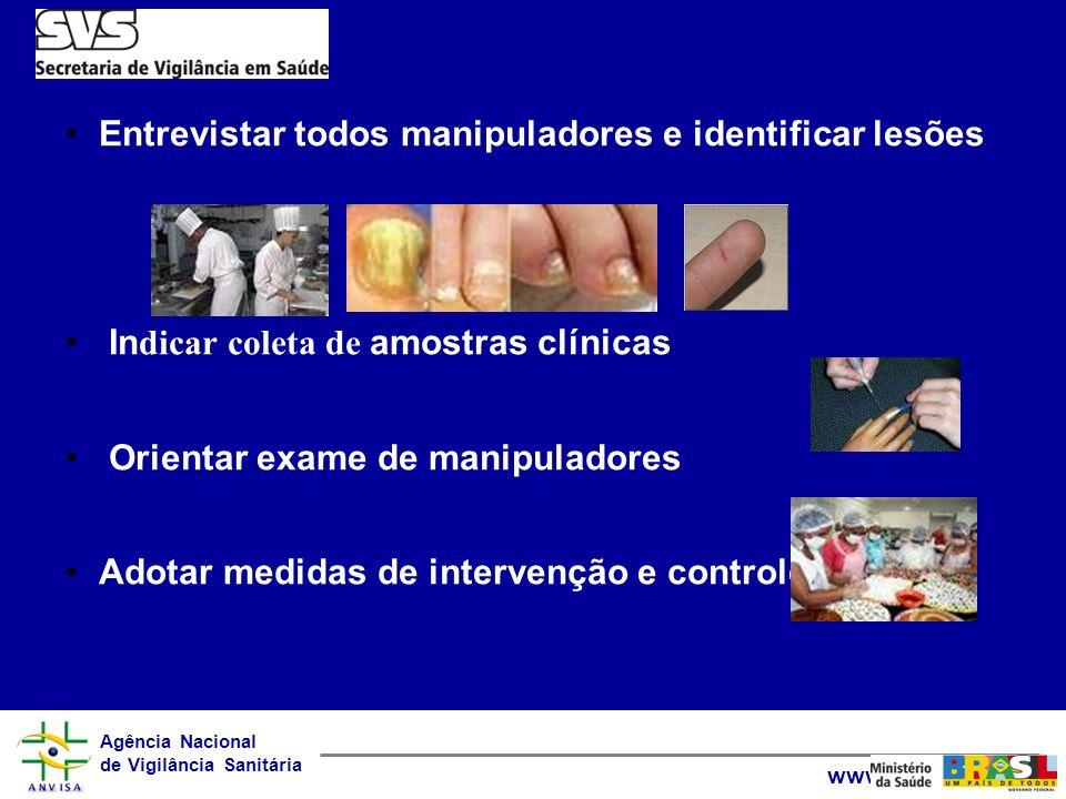 Agência Nacional de Vigilância Sanitária www.anvisa.gov.br Entrevistar todos manipuladores e identificar lesões In dicar coleta de amostras clínicas O