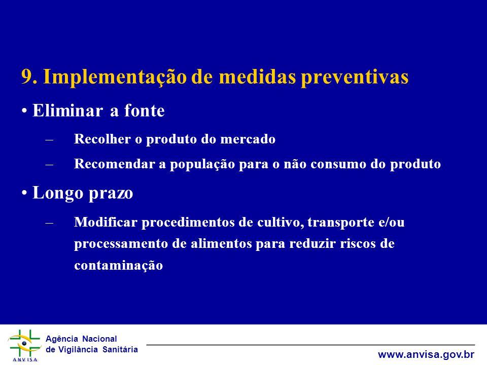 Agência Nacional de Vigilância Sanitária www.anvisa.gov.br 9. Implementação de medidas preventivas Eliminar a fonte –Recolher o produto do mercado –Re