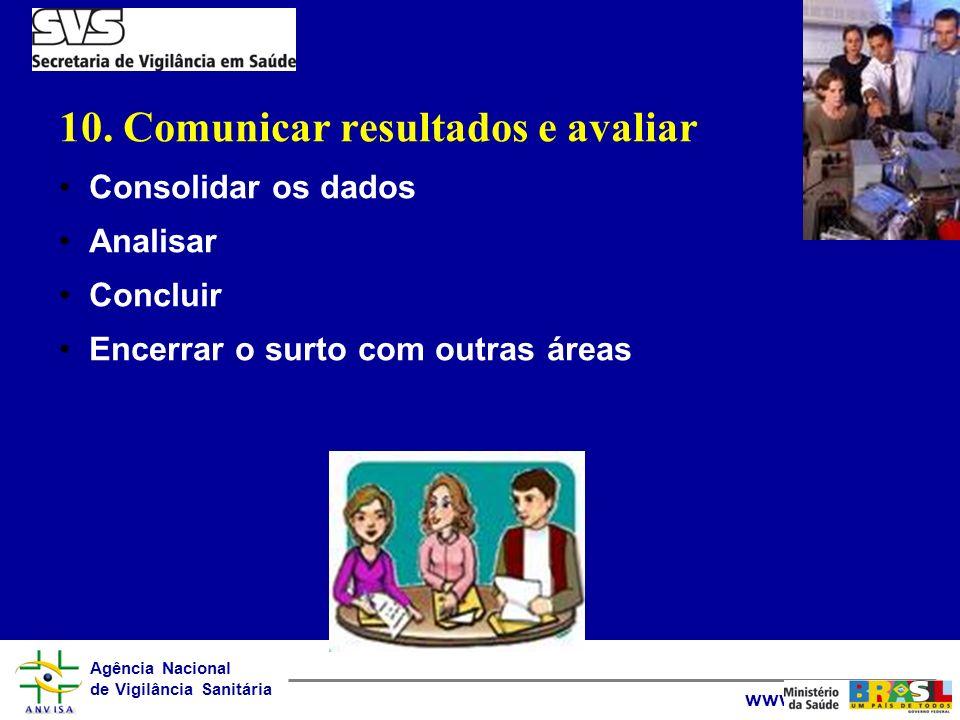 Agência Nacional de Vigilância Sanitária www.anvisa.gov.br 10. Comunicar resultados e avaliar Consolidar os dados Analisar Concluir Encerrar o surto c