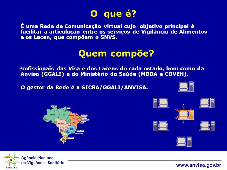Agência Nacional de Vigilância Sanitária www.anvisa.gov.br O que é? É uma Rede de Comunicação virtual cujo objetivo principal é facilitar a articulaçã