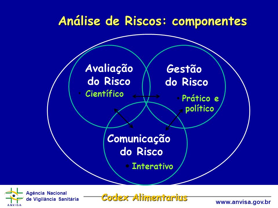 Agência Nacional de Vigilância Sanitária www.anvisa.gov.br Gestão do Risco Prático e político Comunicação do Risco Interativo Avaliação do Risco Cient