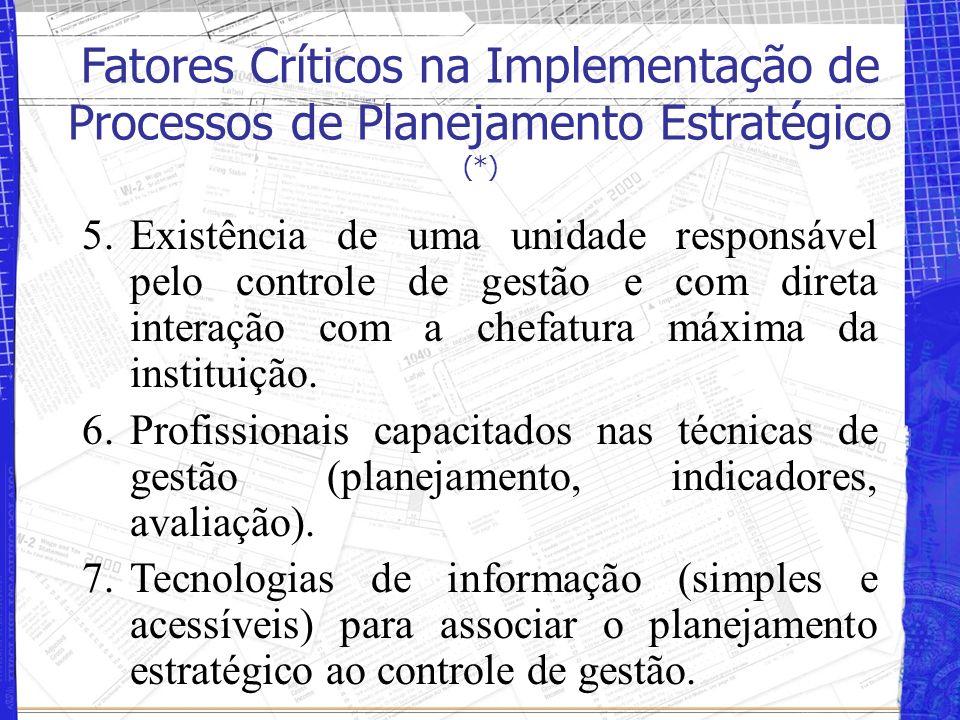 Fatores Críticos na Implementação de Processos de Planejamento Estratégico (*) 1.Compromisso e liderança de diretores 2.Regularidade e continuidade na