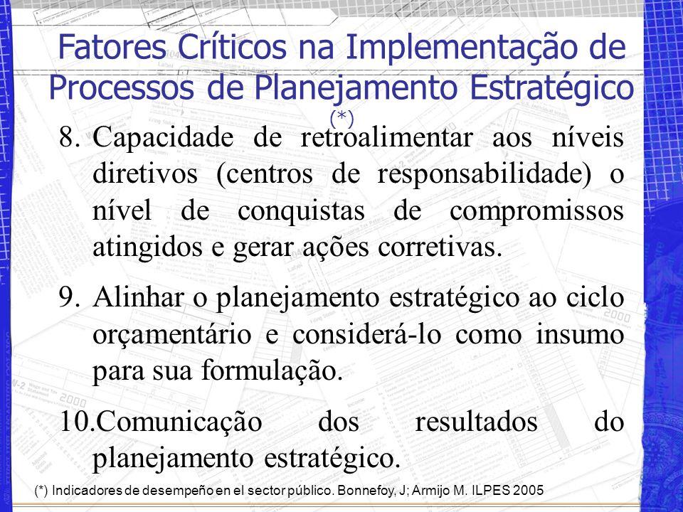 5.Existência de uma unidade responsável pelo controle de gestão e com direta interação com a chefatura máxima da instituição. 6.Profissionais capacita