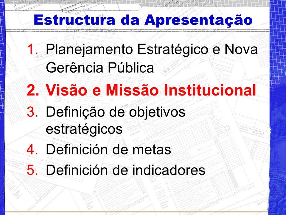 Estructura da Apresentação 1.Planejamento Estratégico e Nova Gerência Pública 2.Visão e Missão Institucional 3.Definição de objetivos estratégicos 4.Definición de metas 5.Definición de indicadores