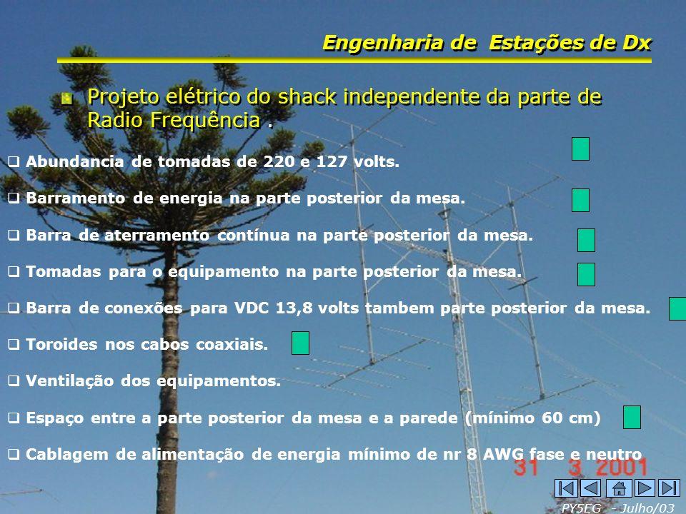 PY5EG - Julho/03 Engenharia de Estações de Dx Projeto elétrico do shack independente da parte de Radio Frequência. Abundancia de tomadas de 220 e 127