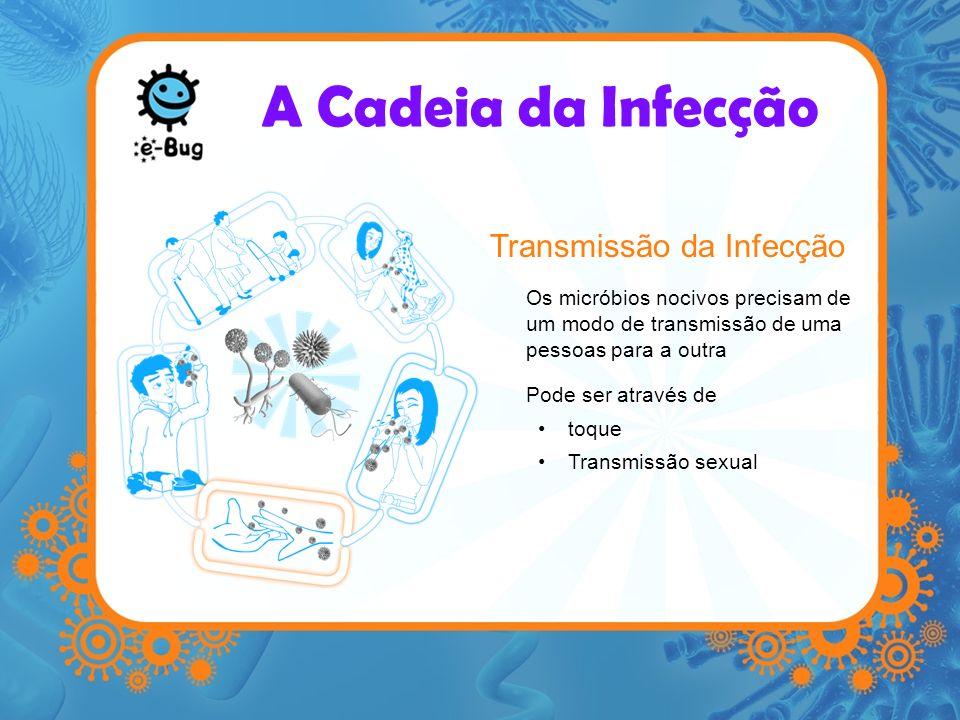 A Cadeia da Infecção Porta de entrada para os micróbios Os micróbios nocivos necessitam de uma porta de entrada para infectar o organismo Isso pode acontecer através –Dos alimmentos que ingerimos –Da inalação de aerossóis –Feridas e cortes na pele –Coisas que metemos na boca