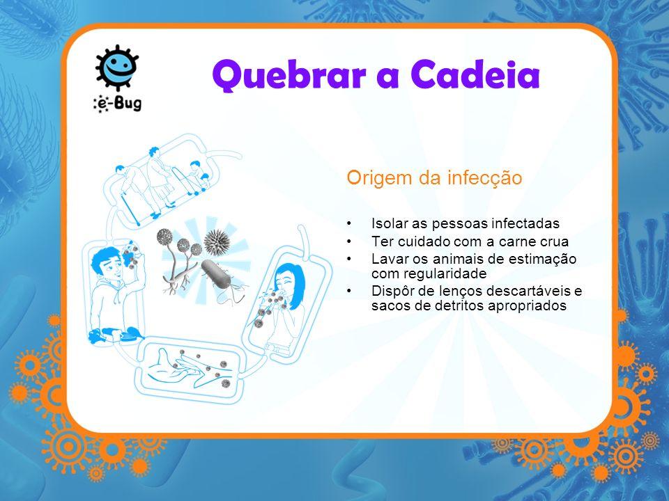 Quebrar a Cadeia Via de saída para os micróbios Medidas preventivas que evitem que –fezes –vómito –Fluidos orgânicos –Tosses e espirros conspurquem as superfícies ou as mãos