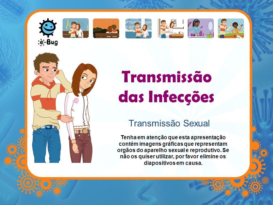 Transmissão das Infecções Transmissão Sexual Tenha em atenção que esta apresentação contém imagens gráficas que representam orgãos do aparelho sexual