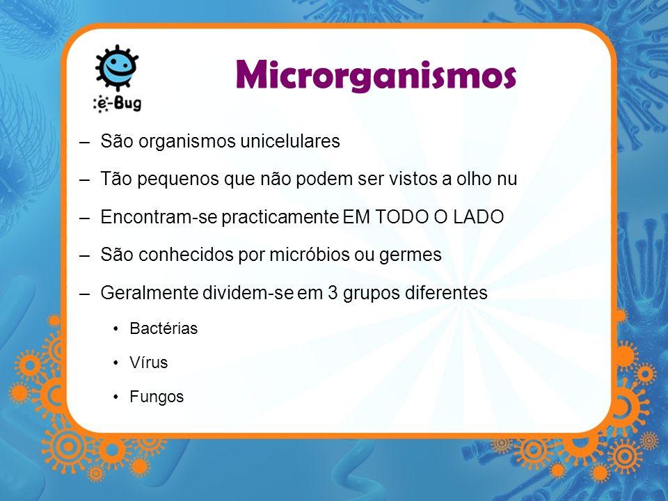 Microrganismos –São organismos unicelulares –Tão pequenos que não podem ser vistos a olho nu –Encontram-se practicamente EM TODO O LADO –São conhecido