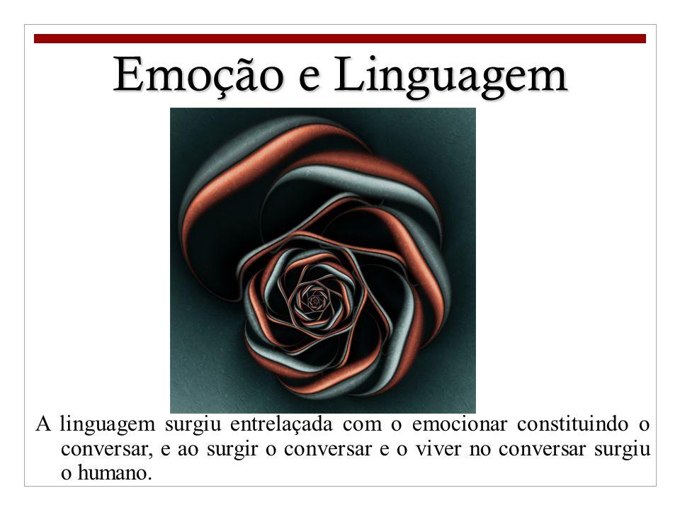 Emoção e Linguagem A linguagem surgiu entrelaçada com o emocionar constituindo o conversar, e ao surgir o conversar e o viver no conversar surgiu o hu