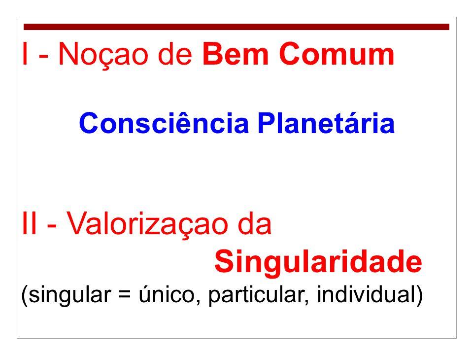I - Noçao de Bem Comum Consciência Planetária II - Valorizaçao da Singularidade (singular = único, particular, individual)