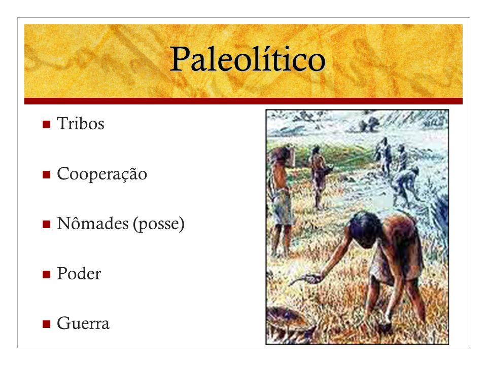 Paleolítico Tribos Cooperação Nômades (posse) Poder Guerra