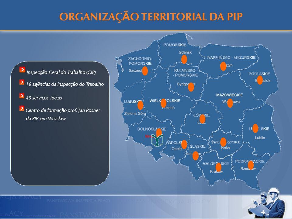4 Inspecção-Geral do Trabalho (GIP) 16 agências da Inspecção do Trabalho 43 serviços locais Centro de formação prof. Jan Rosner da PIP em Wrocław ORGA