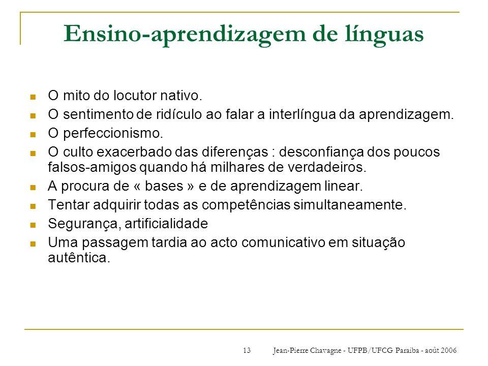 Jean-Pierre Chavagne - UFPB/UFCG Paraiba - août 200613 Ensino-aprendizagem de línguas O mito do locutor nativo. O sentimento de ridículo ao falar a in