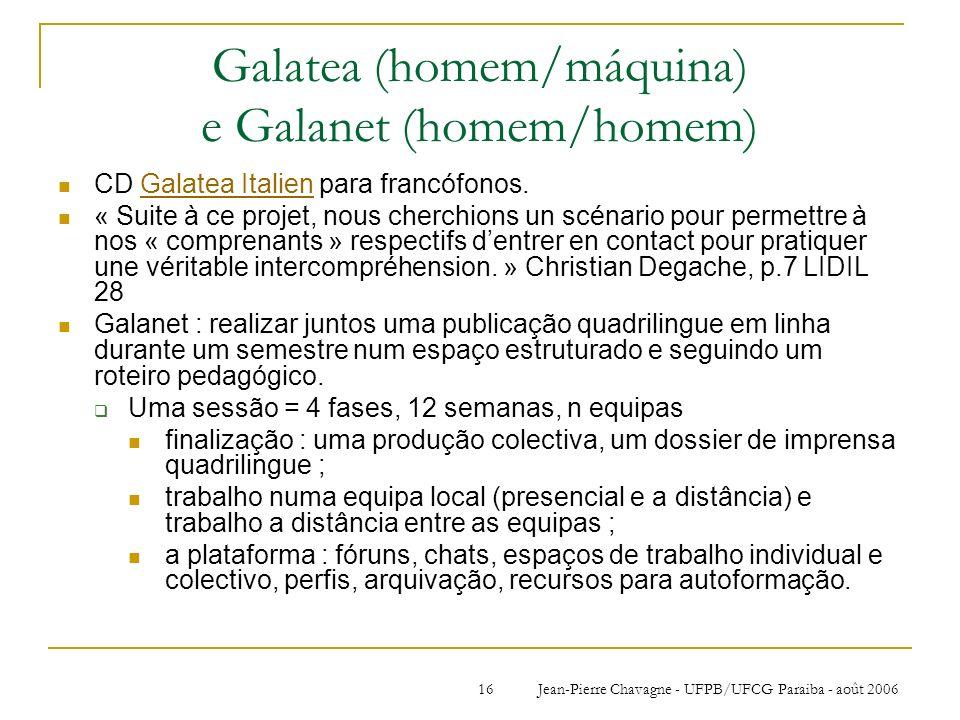 Jean-Pierre Chavagne - UFPB/UFCG Paraiba - août 200616 Galatea (homem/máquina) e Galanet (homem/homem) CD Galatea Italien para francófonos.Galatea Ita