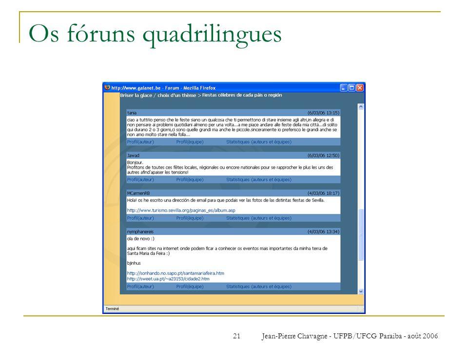 Jean-Pierre Chavagne - UFPB/UFCG Paraiba - août 200621 Os fóruns quadrilingues