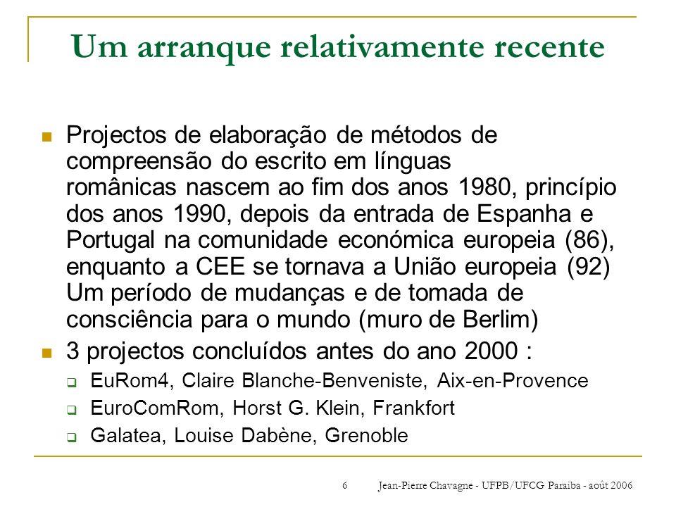 Jean-Pierre Chavagne - UFPB/UFCG Paraiba - août 20066 Um arranque relativamente recente Projectos de elaboração de métodos de compreensão do escrito e